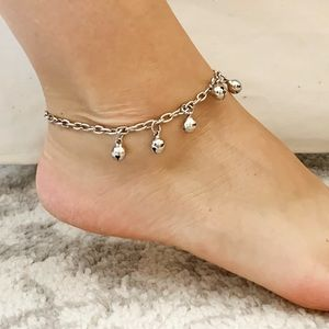 Vintage 'Esmeralda' silver bell chain anklet